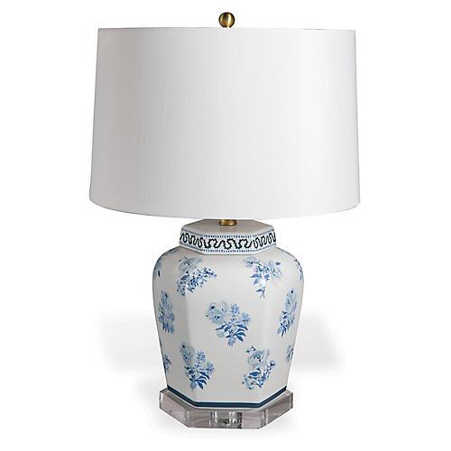 Isleboro Eve Table Lamp, Blue/White