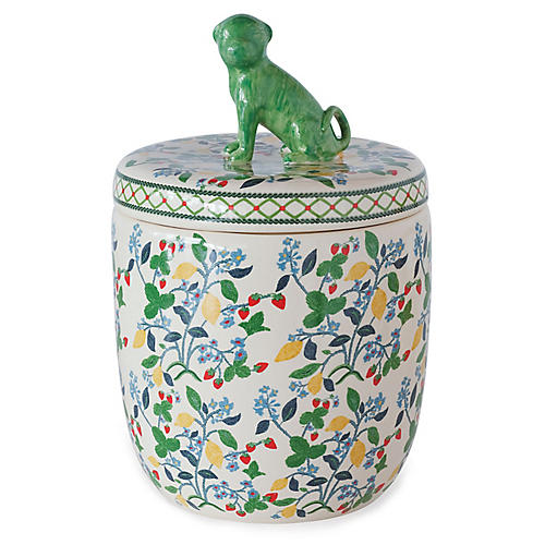 "15"" Crewel Summer Jar, Green/Multi"