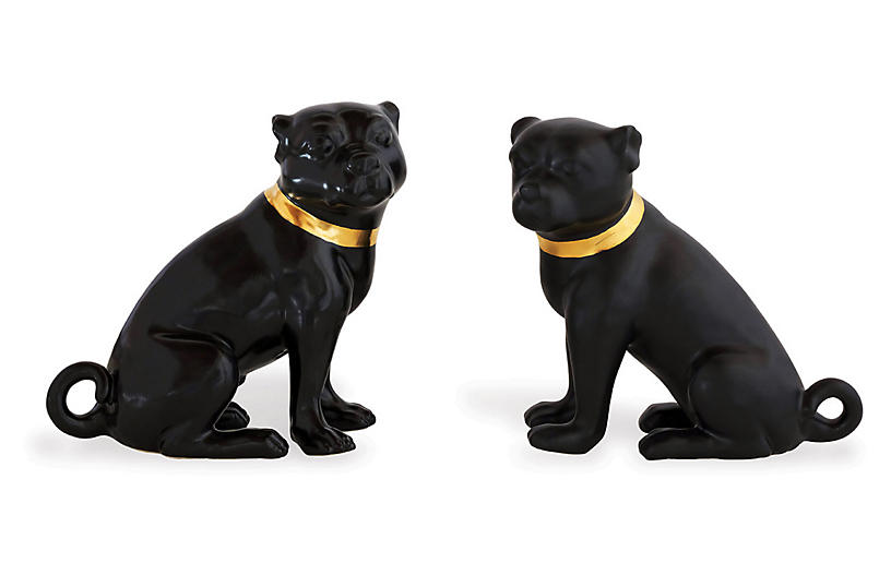 Asst. of 2 Cecil Pug Figures, Black