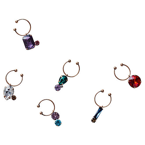 S/6 Jeweled Wine Charms, Gold/Multi