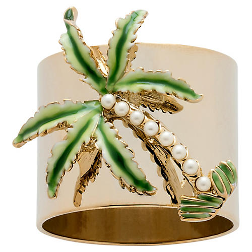 S/2 Palm Tree Napkin Rings, Gold/Green