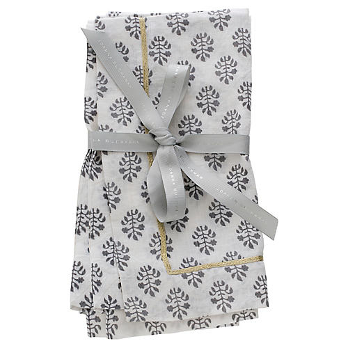 S/2 Leaf Dinner Napkins, Gray