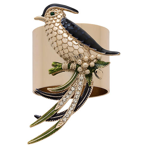 S/2 Bird Napkin Rings, Gold/Multi