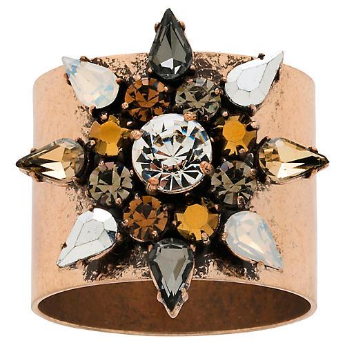 S/2 Snowflake Napkin Rings, Gold/Multi