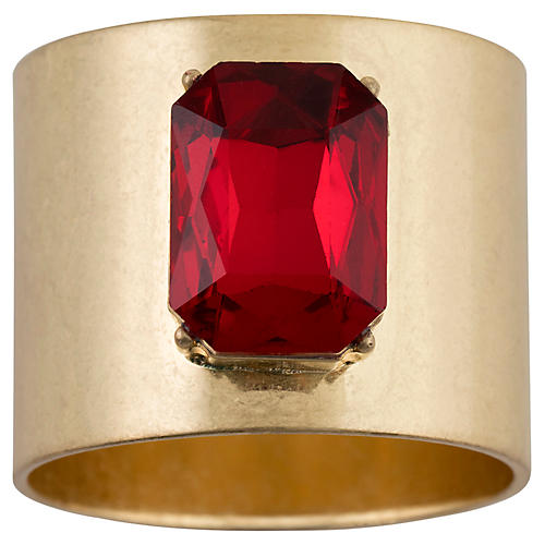S/2 Single Gem Napkin Rings, Gold/Red