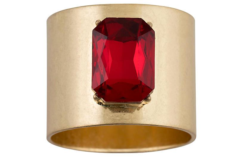 S/2 Single Gem Napkin Rings, Gold/Red