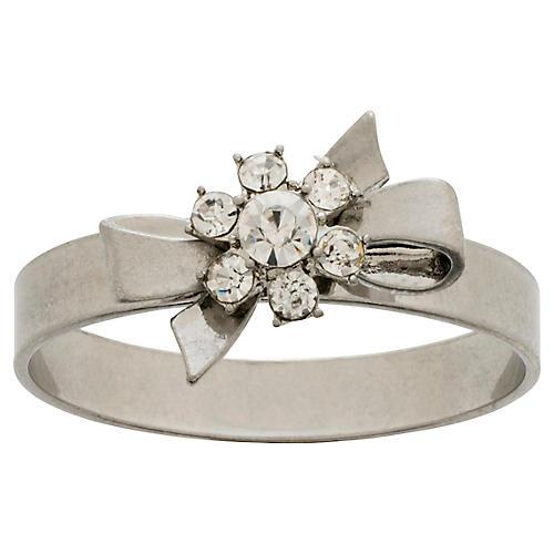 S/4 Gift Bow Skinny Napkin Rings, Silver