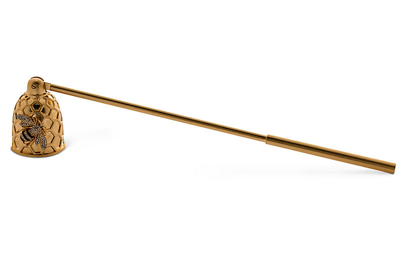 Stripey Bee Candle Snuffer, Gold