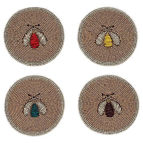 S/4 Sparkle Bee Coasters, Gold/Multi