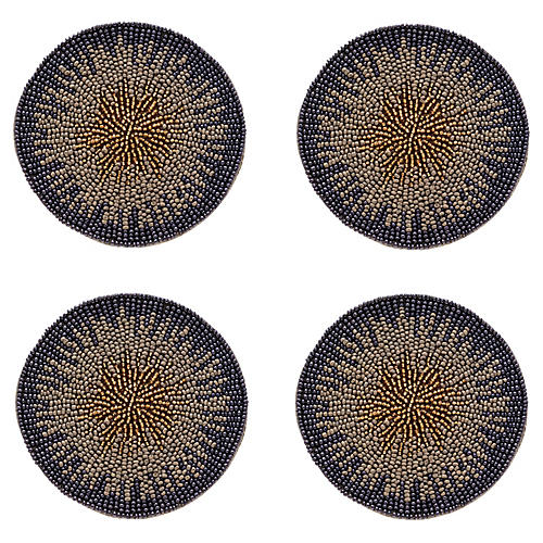 S/4 Ombré Coasters, Navy/Multi