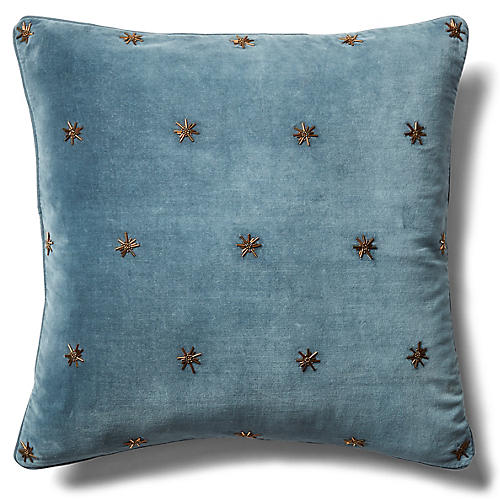 Embroidered Star 20x20 Pillow, Slate Gray Velvet