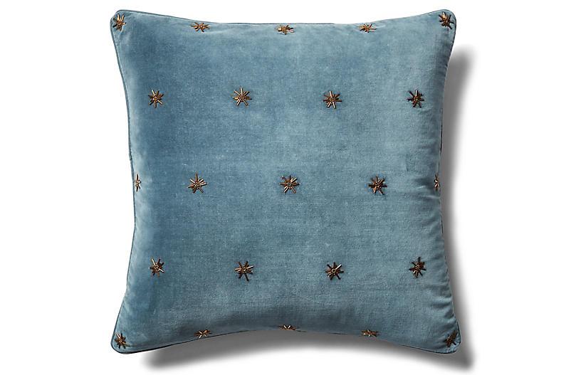 Embroidered Star 20x20 Pillow, Slate Gray Velvet