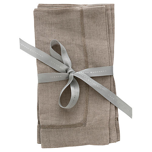 S/2 Linen Dinner Napkins, Flax/Silver