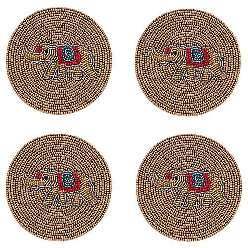S/4 Elephant Coasters, Gold/Multi
