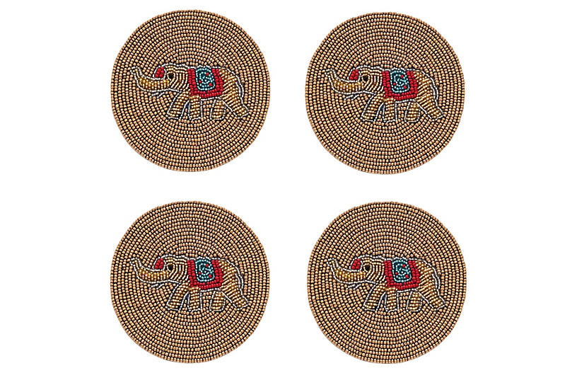 S/4 Elephant Coasters, Gold/Multi