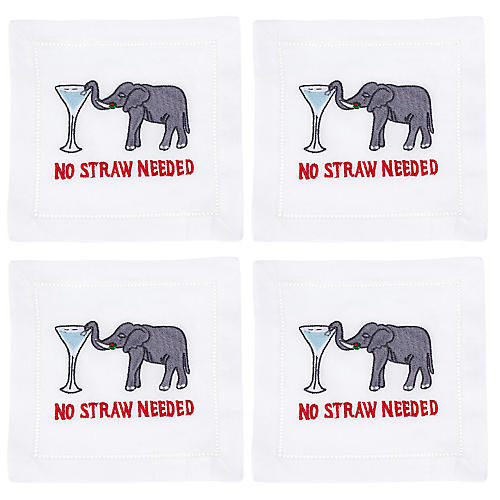 S/4 No Straw Needed Cocktail Napkins, White