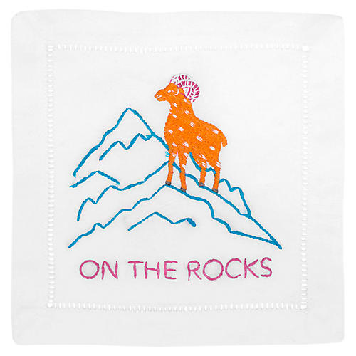S/4 On The Rocks Cocktail Napkins, White