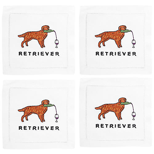 S/4 Golden Retriever Cocktail Napkins, White