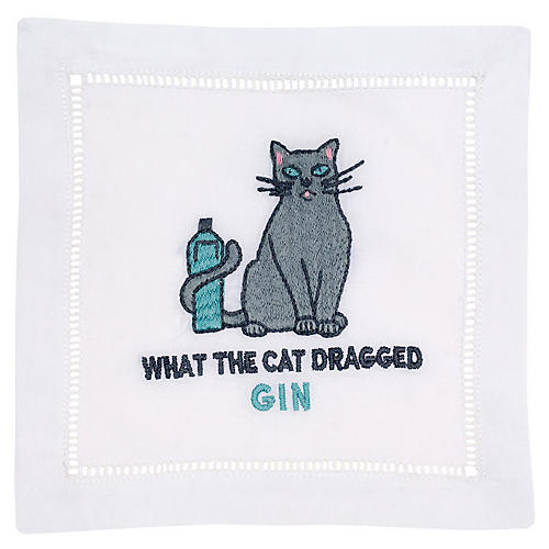 S/4 Cat Dragged Gin Cocktail Napkins, White