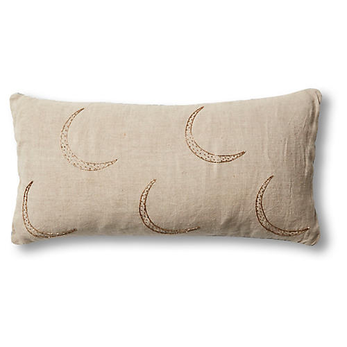 Moon 10x20 Pillow, Natural Linen