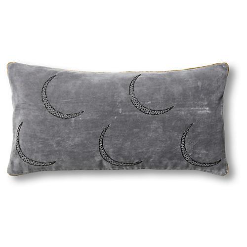 Moon 10x20 Pillow, Gray Velvet