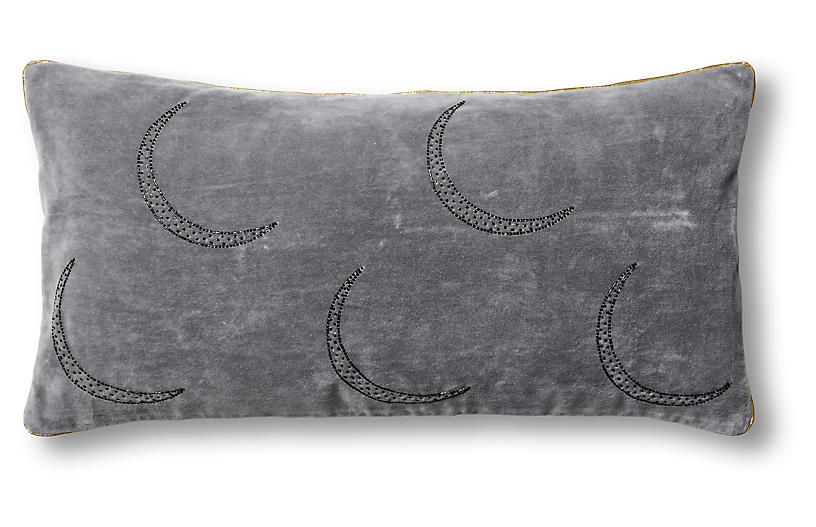 Moon 10x20 Pillow, Gray Velvet