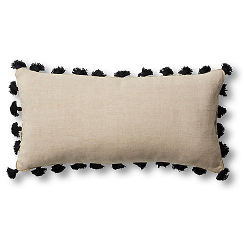 Mini Tassel 10x20 Lumbar Pillow, Black Linen