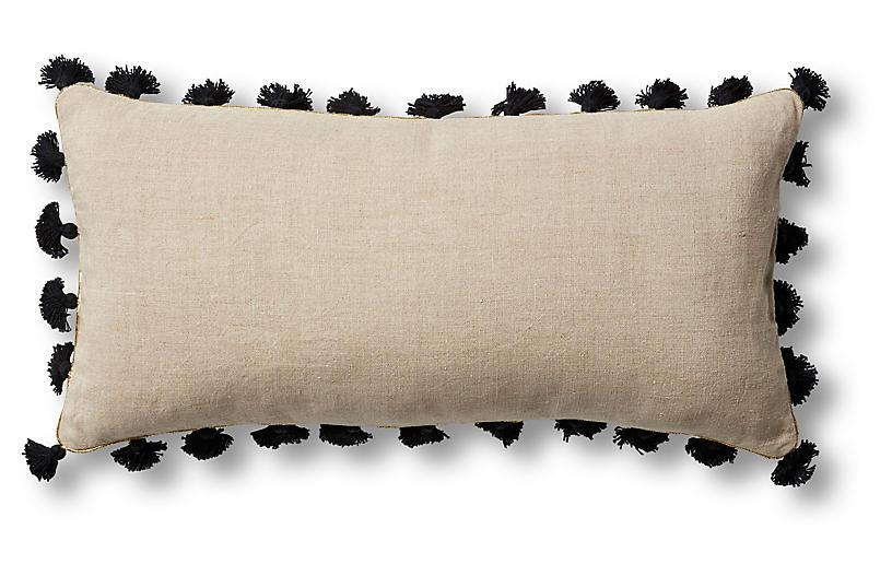 Mini Tassel 10x20 Lumbar Pillow, Black Linen