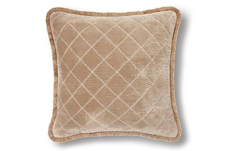 Quilted Fringe 20x20 Pillow, Taupe Velvet