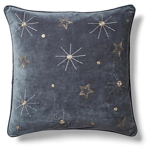 Embroidered Celestial 20x20 Pillow, Dark Gray Velvet