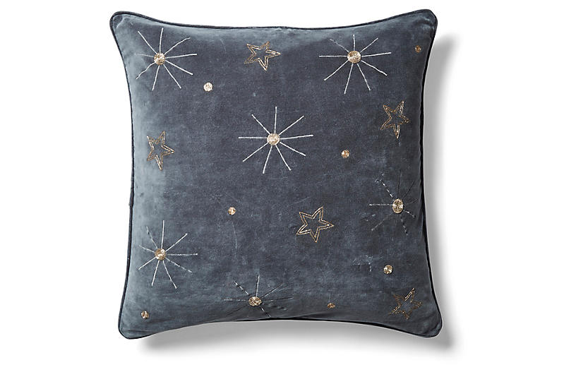 Embroidered Celestial 20x20 Pillow, Dark Gray Velvet
