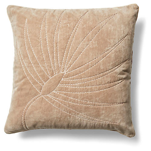Palm Frond 20x20 Pillow, Taupe Velvet