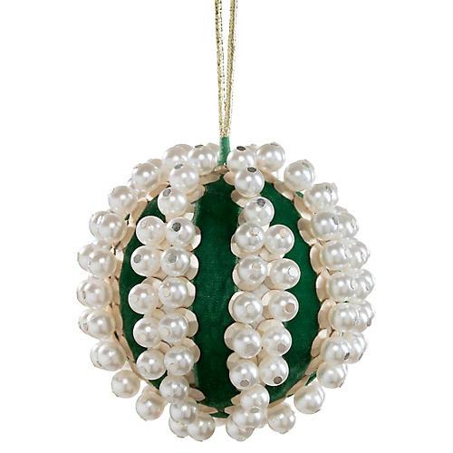 Pearl Ball Ornament, Emerald