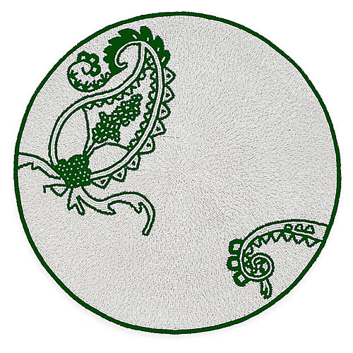 Paisley Place Mat, Silver/Green