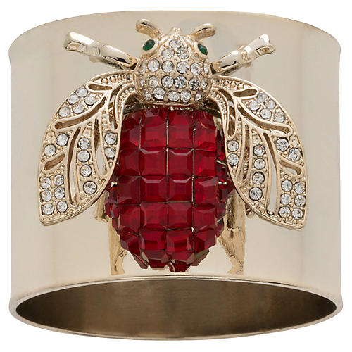 S/2 Sparkle Bee Napkin Rings, Gold/Red