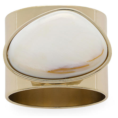 S/2 Mother-of-Pearl Napkin Rings, Gold