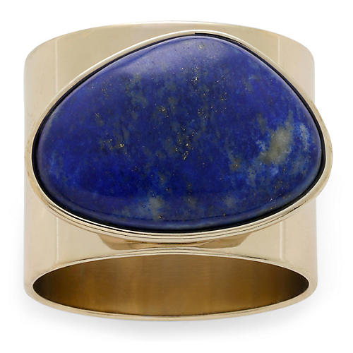 S/2 Lapis Napkin Rings, Blue/Gold