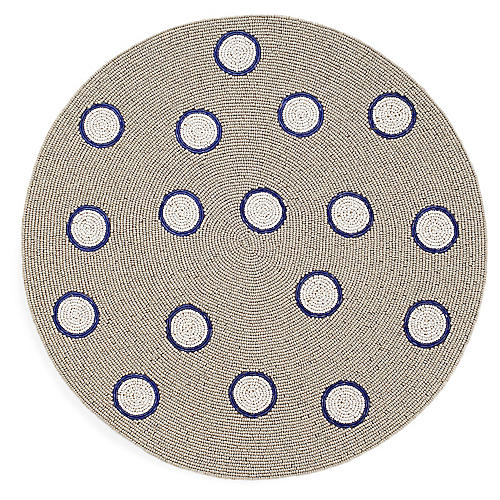 Dot Place Mat, Blue/Taupe
