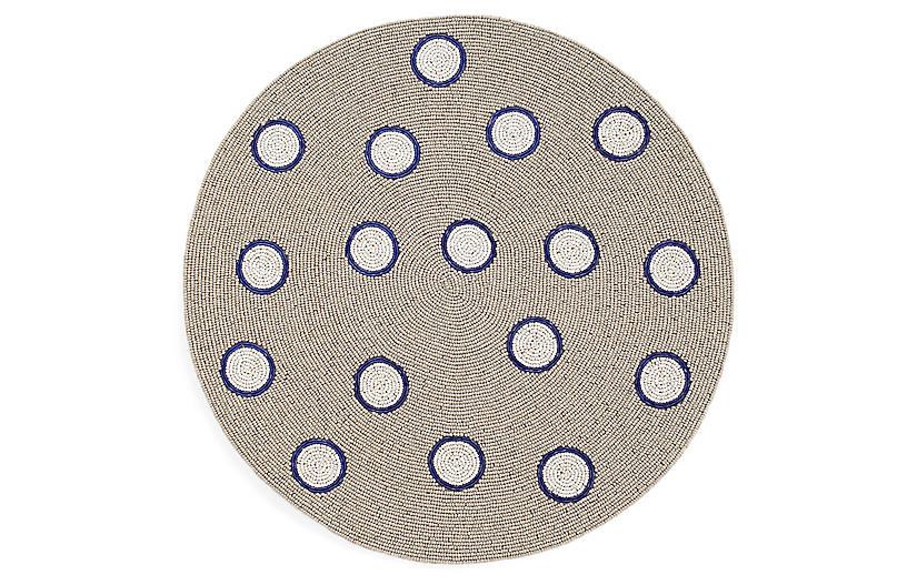 Dot Place Mat, Blue/Taupe