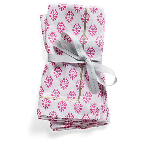 S/2 Printed Leaf Dinner Napkins, Hot Pink/White
