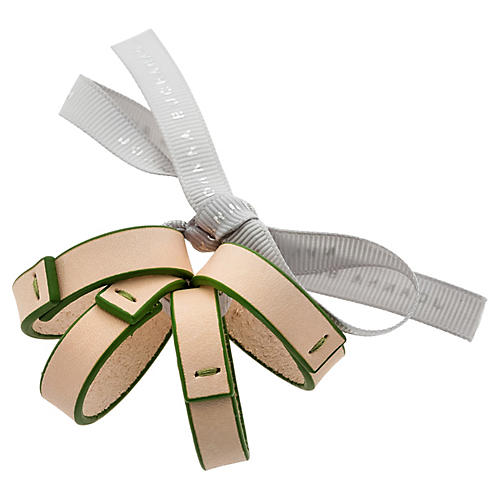 S/4 Leather Skinny Napkin Rings, Natural/Green