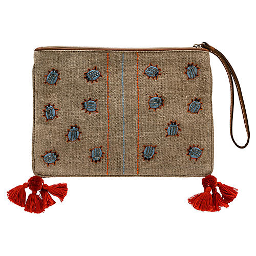 Embroidered Beetle Pouch, Natural/Multi