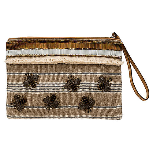 Stripey Bee Pouch, Natural/Multi