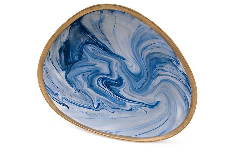 Marbleized Porcelain Ring Dish, Blue