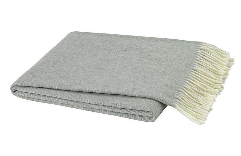 Herringbone Cotton Throw, Light Gray