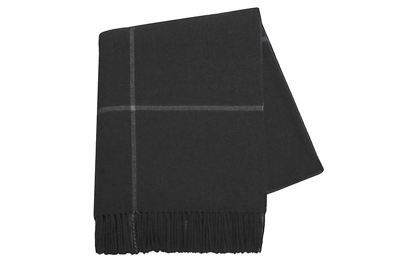 Windowpane Cashmere Throw, Onyx