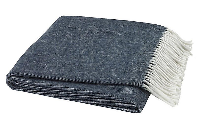 Herringbone Throw, Navy
