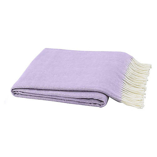 Herringbone Cotton-Blend Throw, Lilac