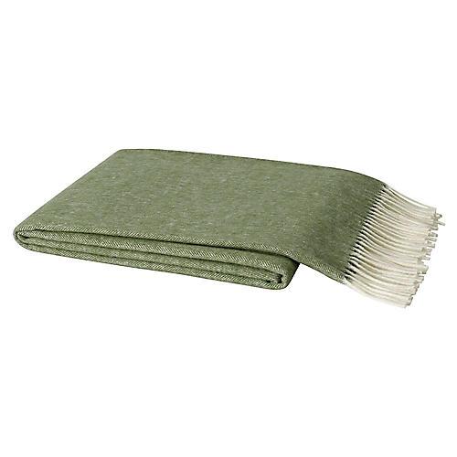 Herringbone Cotton Throw, Olive