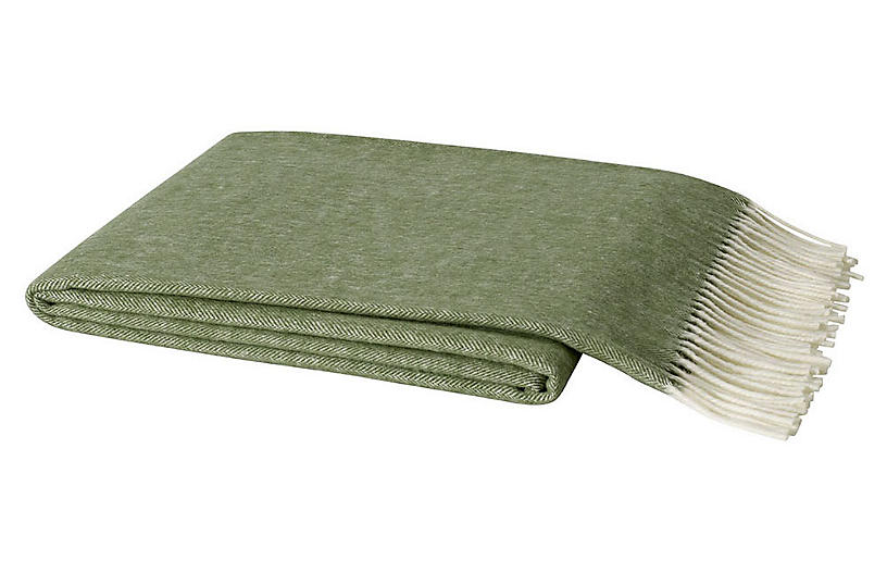 Herringbone Cotton Throw, Olive